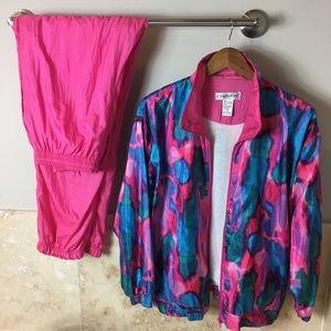 Jackets & Blazers - 90s Pink blue and teal windbreaker 2 piece set